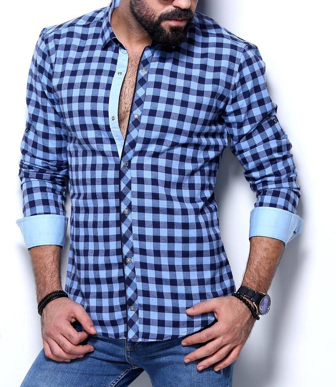 Рубашка на байке для мужчин в мелкую клетку, фото 1