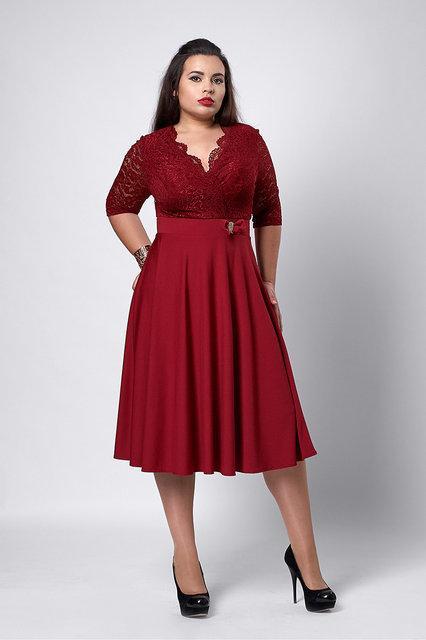 54cb05326894 Женское нарядное платье больших размеров бордового цвета  продажа ...