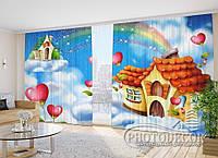 """Фото шторы в зал """"Домик в облаках"""" 2,7м*3,5м (2 половинки по 1,75м), тесьма"""
