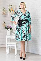 Красивое женское платье с цветочным узором, бирюзовый