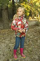 """Детская демисезонная куртка-жилетка с ярким рисунком для девочки 5-8 лет (Р. 110-128) ТМ """"Модный карапуз"""" Акварель бордо"""
