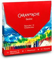 Набор Caran d'Ache Neocolor Creative Box (15 карандашей + 12 открыток + щётка)