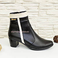 Женские демисезонные ботинки на невысоком каблуке, натуральная кожа бежевая и черная, фото 1