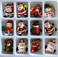 Новогодняя подвеска-магнит, 4,5х4,5 см, набор  12 шт, Новогодние сувениры, Днепр