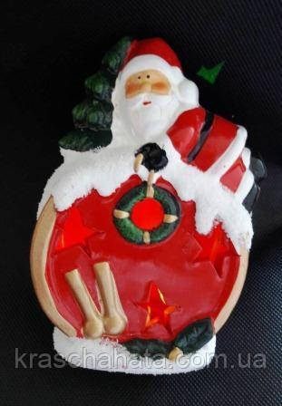 Дед Мороз на барабане,14х10х5 см, сувенир новогодний, статуэтка, керамика, Днепропетровск