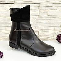 Женские кожаные демисезонные ботинки на низком ходу, декорированы замшевыми вставками., фото 1