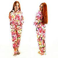 Женская цветочная махровая пижама S-XXL