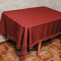 Шикарная скатерть цвета бордо размера 160*300 см