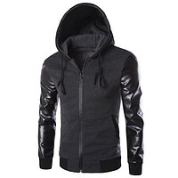 d34fae93a8f5 Мужская толстовка (куртка) с капюшоном с рукавами кожа S,M,L
