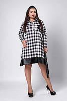 Стильное женское платье-рубашка больших размеров в черно-белую клетку