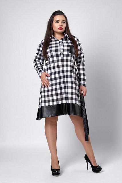 Стильное женское платье-рубашка больших размеров в черно-белую клетку 45fc4e7e8af35
