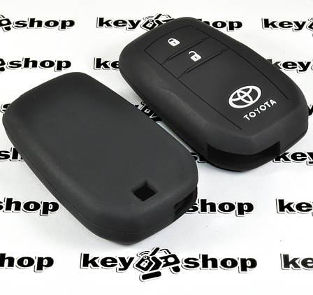 Чехол (черный, силиконовый) для смарт ключа Toyota (Тойота) 2 кнопки, фото 2