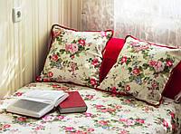 """Декоративная интерьерная 40х40 подушка в стиле """"Прованс""""  """"Красные розы"""""""