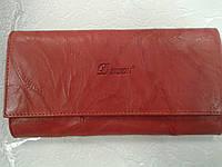 Женский кошелек кожаный красный вместительный(Турция)