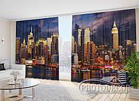 """Фото Шторы в зал """"Горизонт ночного Нью-Йорка"""" 2,7м*3,5м (2 половинки по 1,75м), тесьма"""