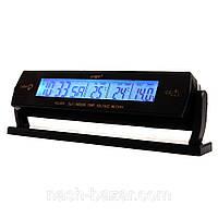 Авточасы-термометр vst-7013v, напряжение 12в, вольтметр, будильник с отсрочкой сигнала, жк-дисплей