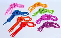 Скакалка для художественной гимнастики l-3м C-3251 (PL, l-3м, d-9мм, цвета в ассортименте)