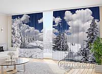 """Новогодние Фото Шторы в зал """"Зима в лесу"""" 2,7м*2,9м (2 полотна по 1,45м), тесьма, фото 1"""