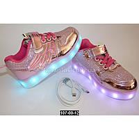 Светящиеся кроссовки с крыльями для девочки, 27, 29, 30 размер, зарядка от USB, 11 режимов, Led