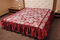 Покрывало атлас на кровать Цветок 180*210.Бордовый.