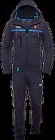 Мужской спортивный костюм с капюшоном, темно-серый спортивный костюм