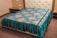 Покрывало атлас на кровать Цветок 180*210.Зеленый.