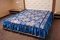 Покрывало на двухспальную кровать. Цветок. 180*210.Синий.