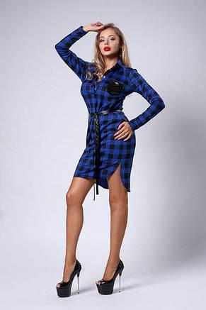 Молодежное повседневное платье - рубашка удлиненное сзади, фото 2