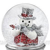 """Стеклянный музыкальный снежный шар """"Снеговик и птичка"""" (США)"""