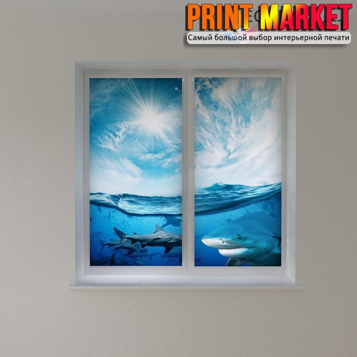 Рулонные шторы с фотопечатью акулы в море