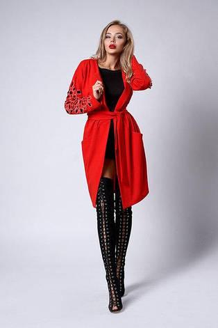 Модный молодежный кардиган - платье, рукавчик декорирован перфорацией и усыпан камнями, фото 2