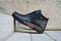 Зимние мужские ботинки Norman  черная кожа код Y10393