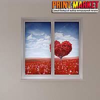 Рулонные шторы с фотопечатью сердце на дереве