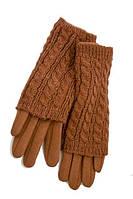Женские зимние перчатки стрейчивые с элементом вязки