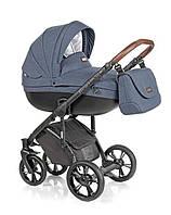 Детская универсальная коляска 2 в 1 ROAN Bass Soft Grey Powder, синий (7227)