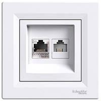 Розетка Schneider-Electric Asfora телефонная+компьютерная двойная белая