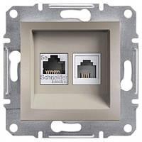 Розетка Schneider-Electric Asfora Plus телефонная+компьютерная двойная бронза