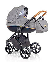Детская универсальная коляска 2 в 1 ROAN Bass Soft Denim Cognac, серый (6145)