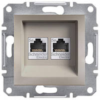 Розетка Schneider-Electric Asfora Plus компьютерная RJ45 кат. 6 UTP двойная бронза
