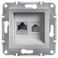 Розетка Schneider-Electric Asfora Plus телефонная+компьютерная двойная алюминий