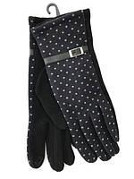 Модные трикотажные перчатки в горошки
