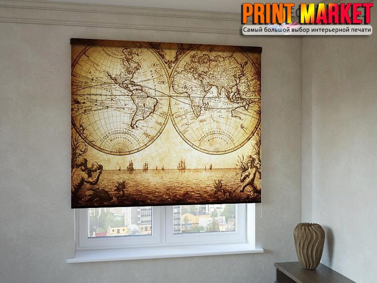 Рулонные шторы с фотопечатью старая карта