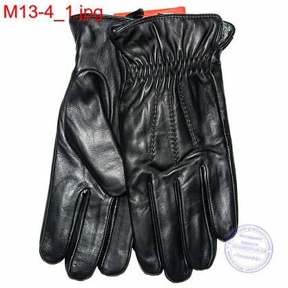 Мужские кожаные перчатки (лайка) с махровым утеплителем - M13-4 до 20 см, фото 3
