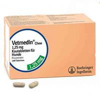 Ветмедин в таблетках (1,25 мг; 2,5 мг; 5 мг; ) (пимобендан, д/сердца), Берингер