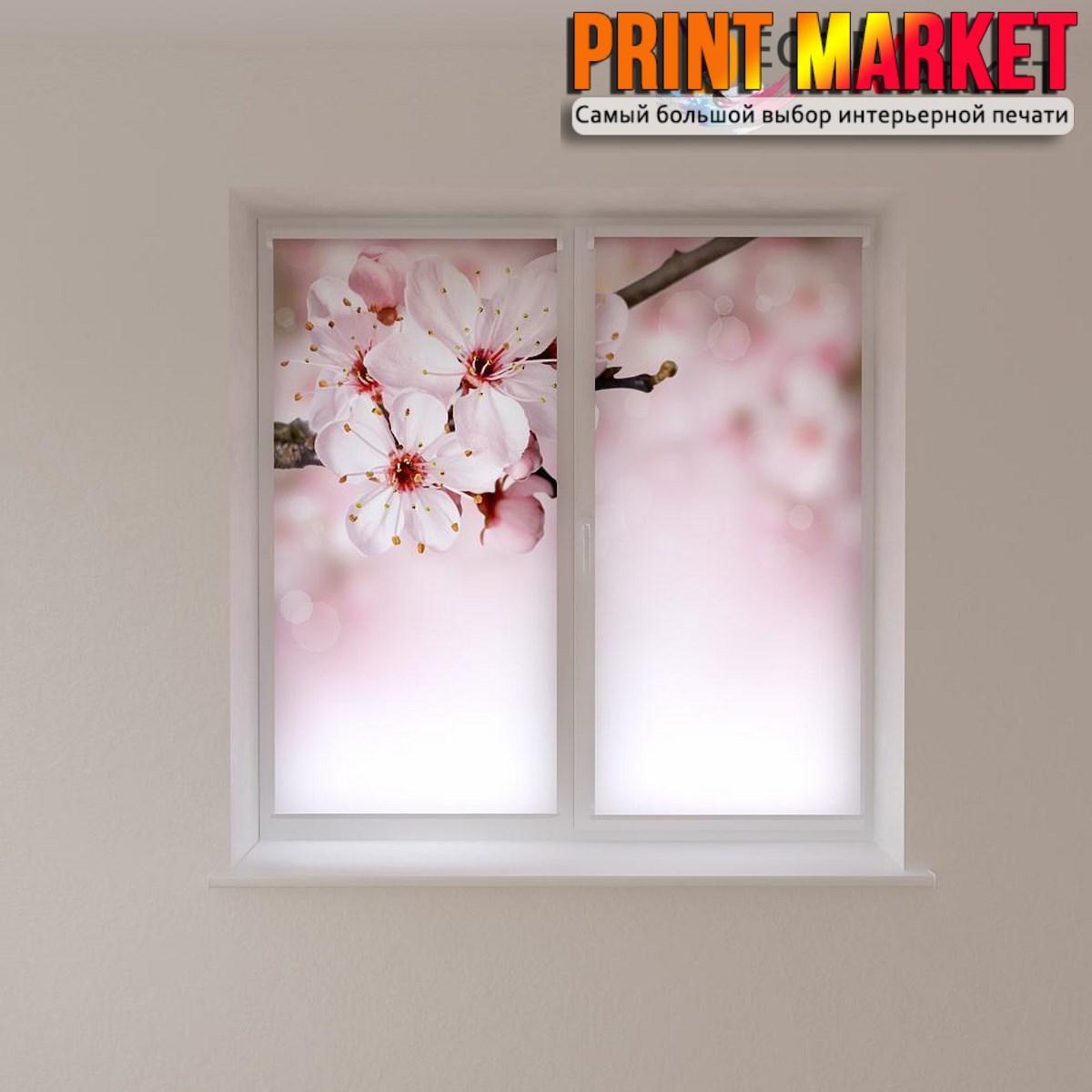 Рулонные шторы с фотопечатью цветы на ветке