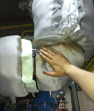 Благодаря правильно подобранным материалам, термочехлы термочехлы обеспечивают безопасную температуру на наружном слое. В данном случае зафиксировано снижение температуры с 550 до 60 0С