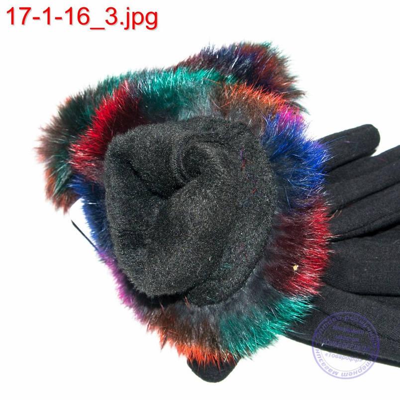 Оптом женские трикотажные стрейчевые перчатки для сенсорных телефонов с натуральным мехом - №17-1-16, фото 2