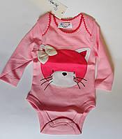 Боди для малышей С длинным рукавом 0-3 месяца Розовый Хлопок 152-02(56) Bubble Турция