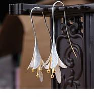 """Красивые серебренные серьги """"Лилии"""" 925, фото 1"""