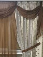 """Гардина с шифоновым ламбрекеном и вставкой  """"Виолетта"""" на карниз 2.5м-3.5м и высотой 2.7м"""